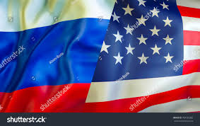 usa russia flags 3d waving flag stock illustration 708156382