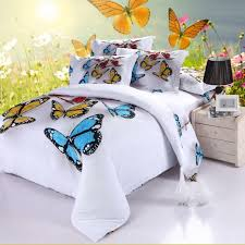colorful butterfly white background bed duvet cover flat sheet