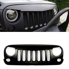 jeep light bar grill front angry birds eye black grill 60w led headlight matte fit