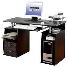techni mobili dual pedestal computer desk in espresso desks and