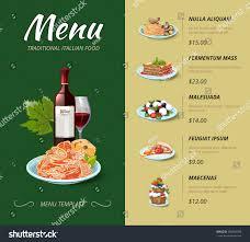 italian cuisine restaurant menu food dinner stock vector 360989789