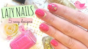 lazy nail art tutorial 5 easy ideas with pink u0026 gold youtube