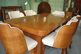 art deco dining room sets epstein dining table and 6 cloud back chairs in fiddle back maple