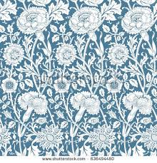 chinoiserie wrapping paper seamless pattern chinoiserie style blue peonies stock vector