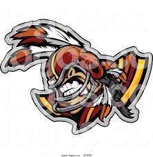 royalty free clip art vector logo of a tough native american brave