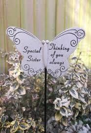 diamante memorial butterfly stake garden plaque grave