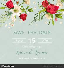 Invitation Card Background Wedding Invitation Card With Lily And Roses Flowers Background