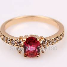 girls stone rings images Delicate solitaire 18k yellow gold filled womens or girls ring jpg
