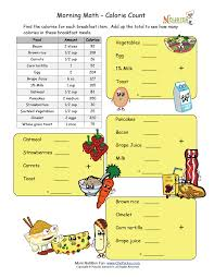 morning math calorie count nutrition worksheets and games