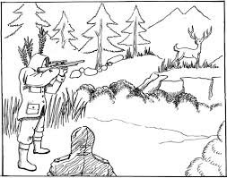 wildlife man hunting coloring pages womanmate com