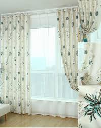White Curtains With Blue Pattern Quality Linen In Beige Color Blue Botanical Pattern Country Curtains