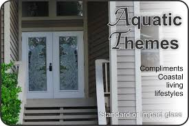 Frosted Glass Exterior Door Etched Glass Front Entry Doors With Aquatic Themes