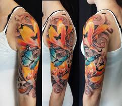 half sleeve tattoos flower butterfly pictures to pin on