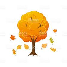 imagenes animadas de otoño árbol de otoño de estilo dibujos animados con hojas cayendo arte