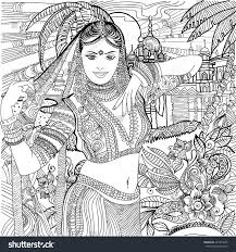 coloring pages india indian woman stock vector 421023925