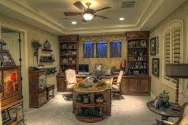 luxury home office decor with brown tile floor and marble office