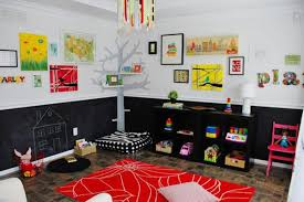 bright kids playroom ideas and black white red color combination
