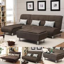 Sofa Ottoman Set Brown Microfiber 3 Pc Sectional Sofa Futon Chaise Bed