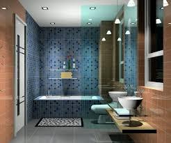 Blue Glass Tile Bathroom - glamorous modern bathroom interior design featuring beige glass