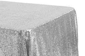 glitz sequin 90 x132 rectangular tablecloth silver cv linens
