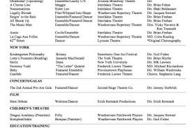 Sample Dance Resume For Audition by Theater Resume Example Reentrycorps