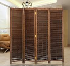 oriental japanese style 4 panel wood folding screen room divider