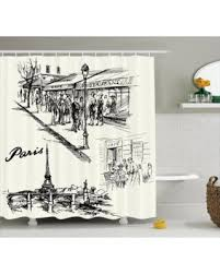 holiday sale eiffel tower decor shower curtain set paris sketch