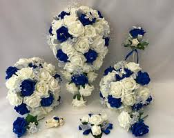 wedding flowers royal blue royal blue bouquet etsy