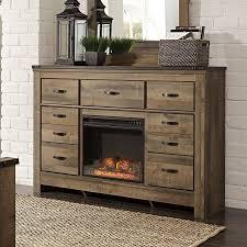 Dresser For Bedroom Trinell Dresser W Fireplace Dressers Bedroom Furniture Bedroom