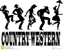 country western dance silhouette banner stock vector image 51035351