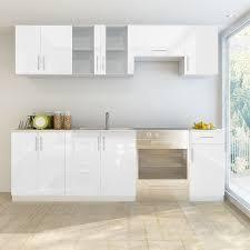 High Gloss White Kitchen Cabinets White 7 Pcs High Gloss White Kitchen Cabinet Unit 240 Cm Lovdock
