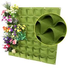 black green 49 pockets vertical vegetable garden wall hanging