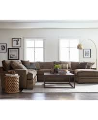 Sectional Sofas Brown Closeout Teddy Fabric 4 Chaise Sectional Sofa Created For