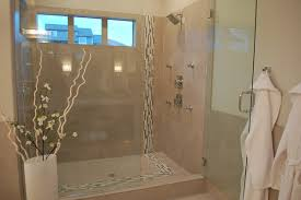 Windows In Bathroom Showers Glass Tile Band Through Shower Bathroom Ideas Pinterest