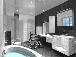 dessin 3d d une salle de bain personne à mobilité réduite et