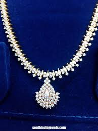 gold stone necklace images Gold white stone necklace south india jewels jpg