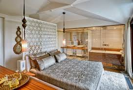 Moroccan Room Divider Beautiful Contemporary Master Bathroom Bedroom Is En Suite Paired