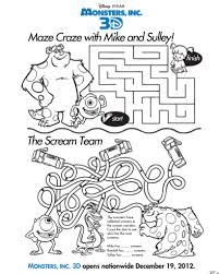 printable kids activities free printable monsters inc 3d activity sheets for kids 3d maze