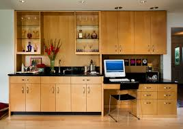 built in desk cabinets home office contemporary with bar black