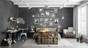 Desk Arm Chair Design Ideas Bedroom Industrial Bedroom With Brown Cozy Bed Near Rustic