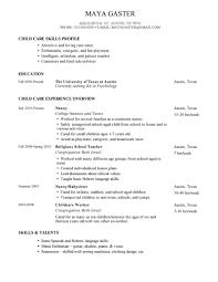 Child Resume Simple Child Care Skills Profile Nanny Resume And Religious
