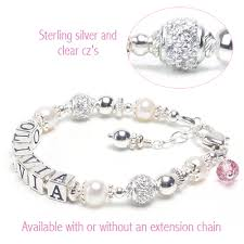 Baby Name Bracelets Graceful Child Baby Bracelets With Pearls And Sterling Silver Cz Beads
