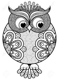 clipart owl black and white big stylized ornate rounded owl black vector contour isolated