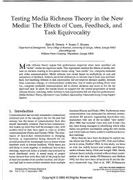 testing media richness theory in the new media the effects of