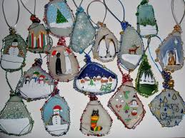 painted sea glass tree decorations reindeer