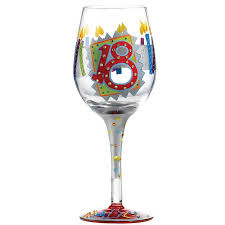 birthday wine 18th birthday wine glass available from flamingo gifts