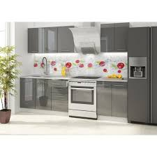 cuisine complete cuisine equipee grise laquee 2 vancouver complete l 1m80 gris
