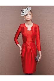 column scoop neck short red satin evening dress long sleeve jacket