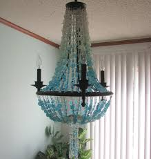 Chandelier Lighting Fixtures by Sea Glass Chandelier Lighting Beach Cottage Chic Coastal Decor