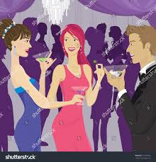 people socializing cocktail party stock illustration 113158765